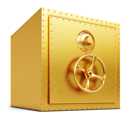 bank protection: golden safe  isolated on white background