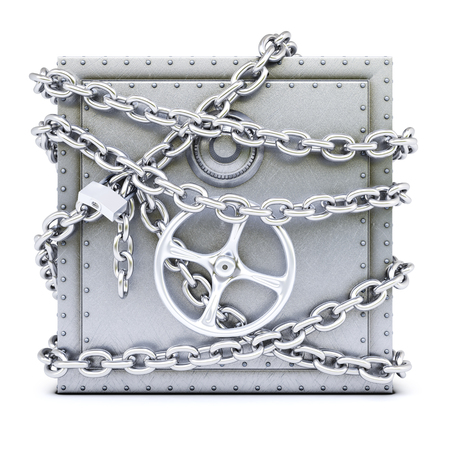 steel safe in chains  isolated on white background  photo