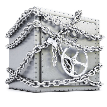 steel safe in chains  isolated on white background  Standard-Bild