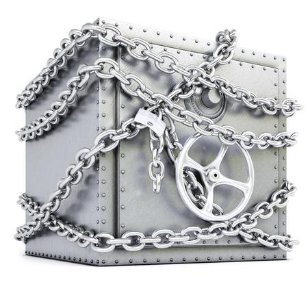 stalen kluis in ketens op een witte achtergrond