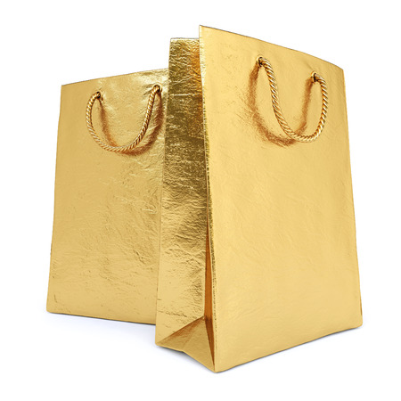 business bag: gold package isolated on white background. Stock Photo
