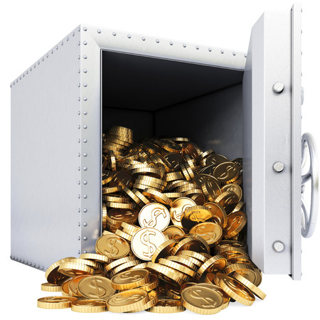 open safe with a bunch of gold coins. isolated on white. photo