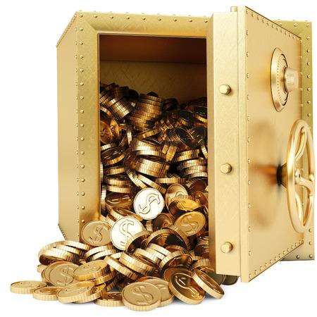 gouden kluis met een stel gouden munten. geïsoleerd op wit.