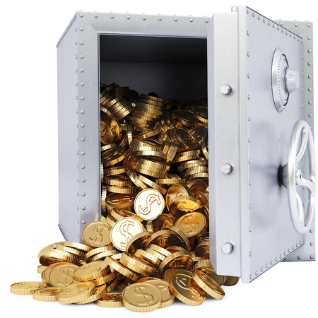 openen kluis met een stel gouden munten. geïsoleerd op wit.