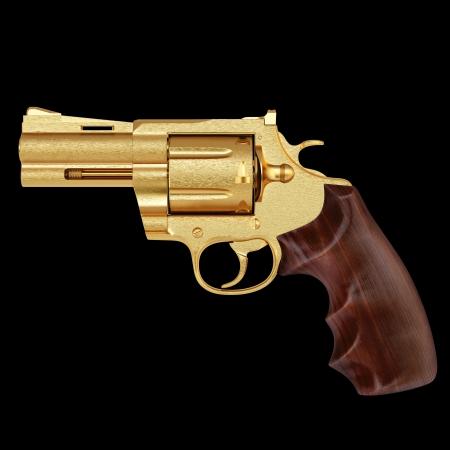 caliber: golden pistol. isolated on black.