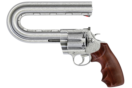 pistol with a curved trunk. Isolated on white. photo
