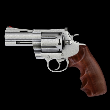 metal barrel: pistol isolated on black background. Stock Photo