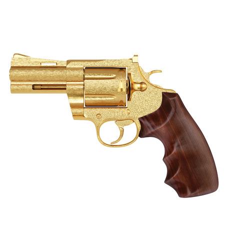 caliber: golden pistol. isolated on white.