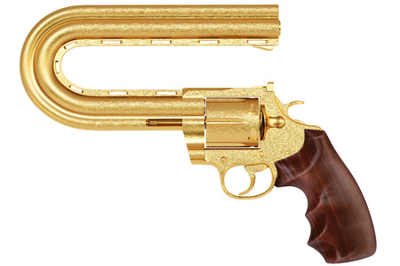 golden pistol with a curved trunk. Isolated on white. photo