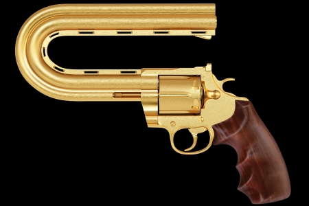 golden pistol with a curved trunk. Isolated on black. photo