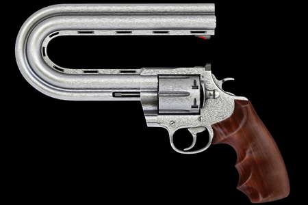 pistol with a curved trunk. Isolated on black.