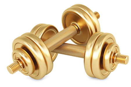 Golden dumbbells. Isolated on white. photo