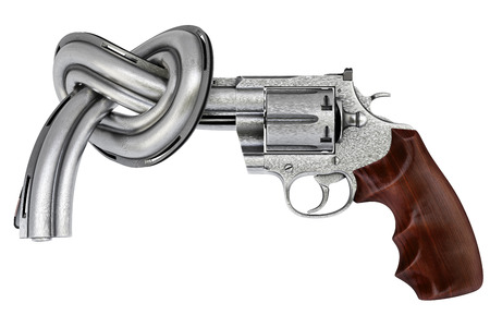 metal barrel: gun tied in a knot. Isolated on white.