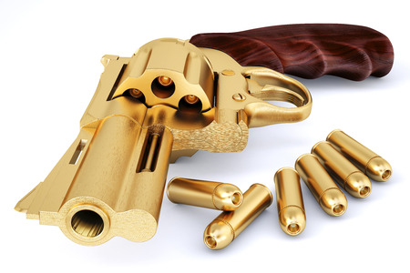 violent: golden pistol. isolated on white.