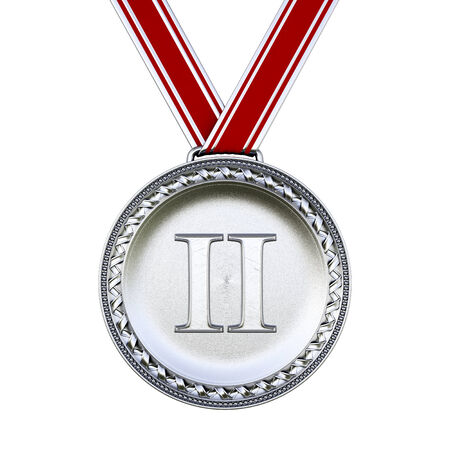 3rd ancient: Silver medal isolated on white. Stock Photo