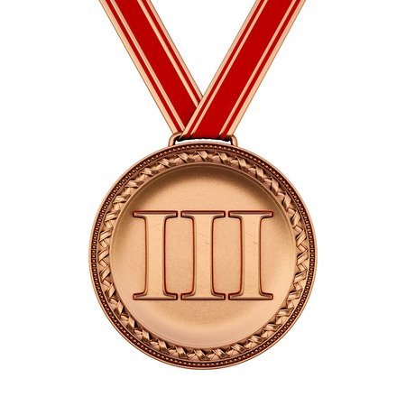 3rd ancient: Bronze medal isolated on white. Stock Photo