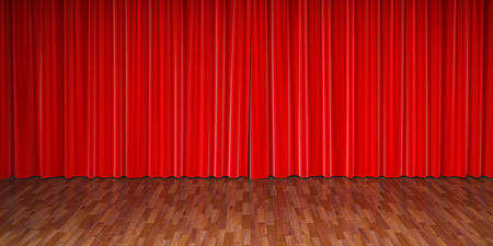 performing: stage with red curtain Stock Photo