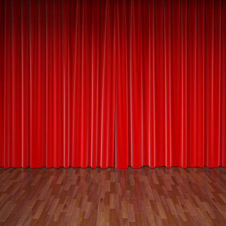 theater auditorium: stage with red curtain Stock Photo