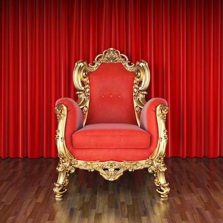 red chair: luxury armchair on stage with red curtains. Stock Photo
