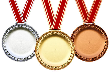 3rd ancient: Medals isolated on white background. Stock Photo