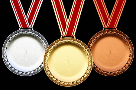 3rd ancient: Medals isolated on black background.