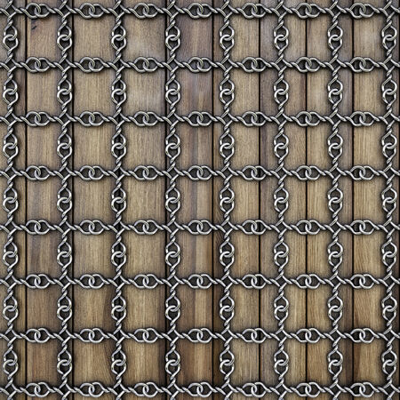 enclose: iron grid on wooden boards.