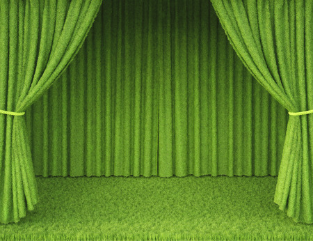 Stage with curtains made from grass photo
