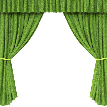 Curtains made from grass  Isolated on white background  photo