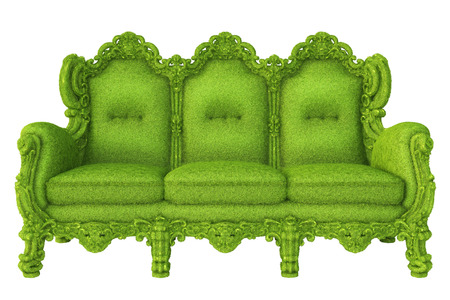 lawn furniture: luxurious sofa covered with green grass  isolated on white background  Stock Photo