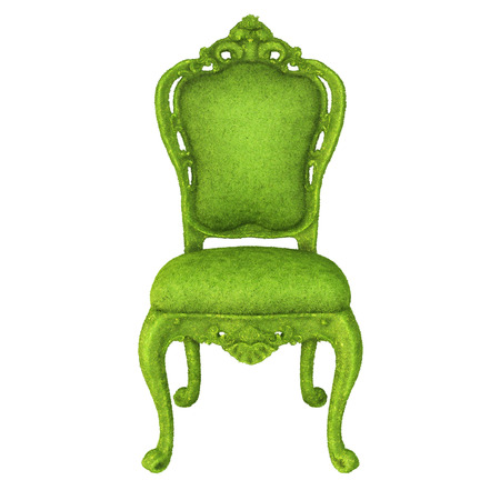 luxurious chair covered with green grass  isolated on white background  photo