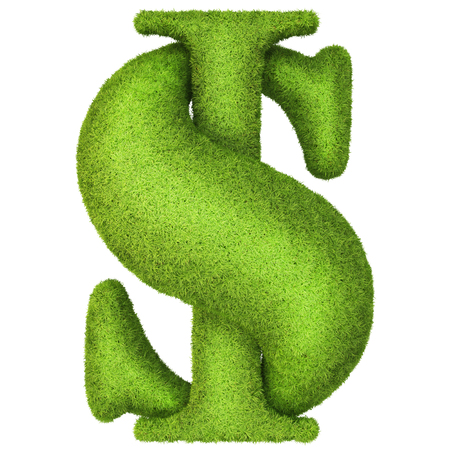 Dollar sign made %u200B%u200Bof green grass. Isolated on white . photo