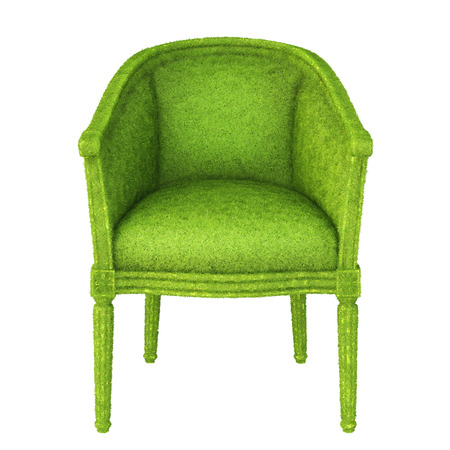 lawn furniture: luxurious armchair covered with green grass  isolated on white background