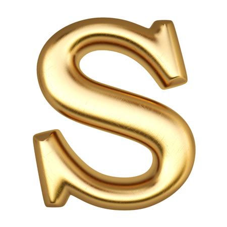 latin alphabet: Alphabet from gold  isolated on white