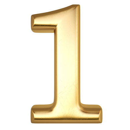 nummer van goud geïsoleerd op wit Stockfoto