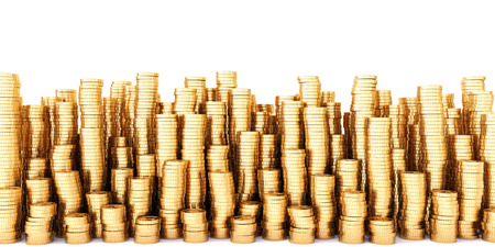 Golden coins in high stacks. Isolated on white.