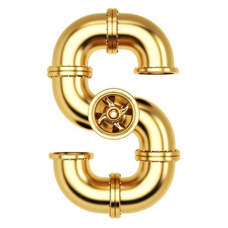 Alfabet S van gouden gasleidingen. Geïsoleerd op een witte achtergrond.