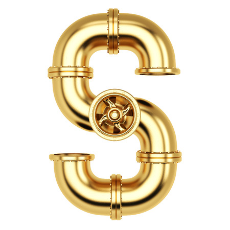 Alphabet S from golden gas pipes. Isolated on white background. Stock Photo