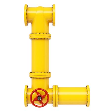 l petrol: Alfabeto L de tuber�as de gas. Aislado en el fondo blanco.