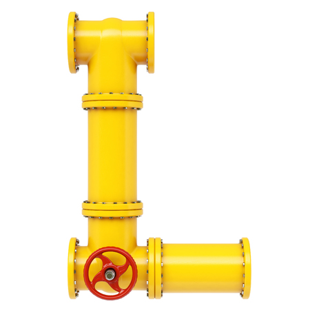l petrol: Alphabet L from gas pipes. Isolated on white background.