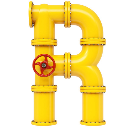 Alphabet R from gas pipes. Isolated on white background.