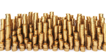 money making: Golden coins in high stacks. Isolated on white.