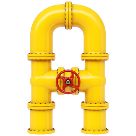 Alphabet A from gas pipes. Isolated on white background. photo