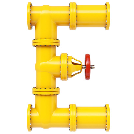 e systems: Alphabet E from gas pipes. Isolated on white background. Stock Photo