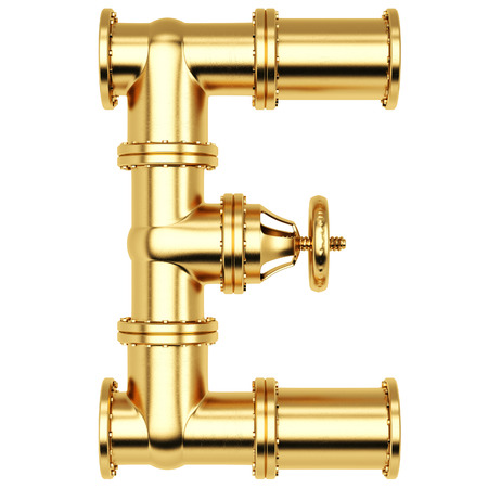 e white: Alphabet E from golden gas pipes. Isolated on white background.
