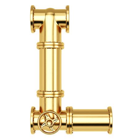l petrol: Alfabeto L de tuber�as de gas de oro. Aislado en el fondo blanco.