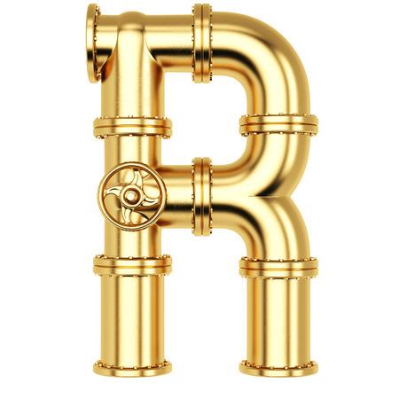Alfabet R van gouden gasleidingen. Geïsoleerd op witte achtergrond. Stockfoto