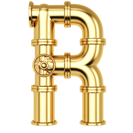 Alphabet R from golden gas pipes. Isolated on white background.