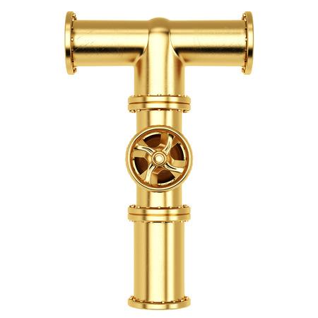 黄金のガス管からのアルファベット T。白い背景で隔離されました。