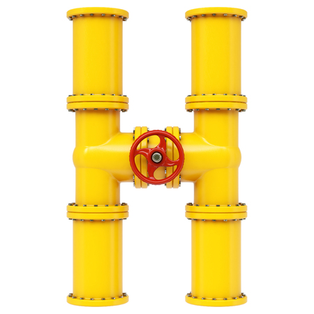 piping: Alphabet H from gas pipes. Isolated on white background. Stock Photo
