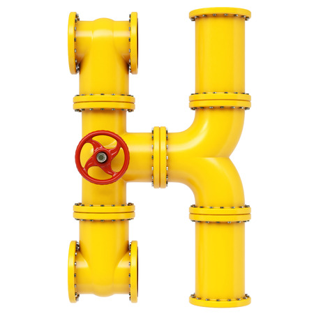 pipe line: Alphabet K from gas pipes. Isolated on white background. Stock Photo